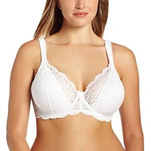 Leading Lady Women's Plus-Size Padded Lace Underwire Bra, White, 42A