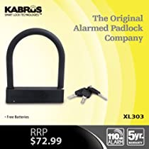 Kabrus Alarmed U Lock / Alarm D Lock / Alarmed Lock for Securing Bike / Motorbike / Motorcycle / Motorbike Helmets / Trailer Security / Securing Bicycles / Caravan Security / Securing Trailers / Scooters