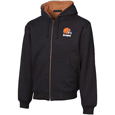 NFL Cleveland Browns Black-Brown Craftsman Workman's Full Zip Hoodie Sweatshirt