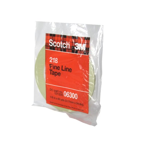 Scotch Fine Line Tape 218 Green, 1/8 in x 60 yd 4.7 mil (Pack of 1)