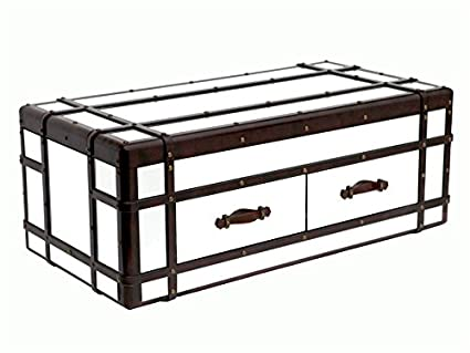 Mirrored Glass and Brown Leather Coffee Table Chest / Blanket Box