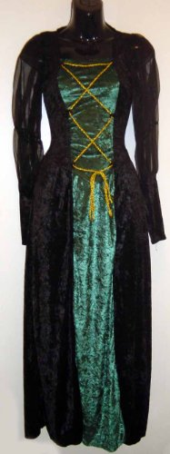Renaissance Lady Velvet Dress Black & Evergreen 01466