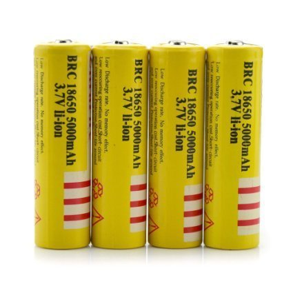 Niceshop® 4pcs 3.7v 18650 5000mah Rechargeable Lithium Battery-Yellow