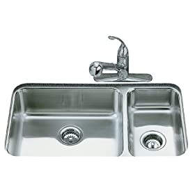 KOHLER K-3352-NA Undertone High/Low Undercounter Kitchen Sink
