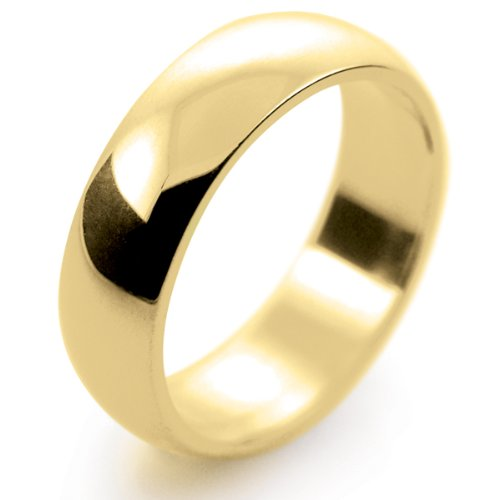 18ct Yellow Gold Wedding Ring D Shape Medium Weight - 6mm