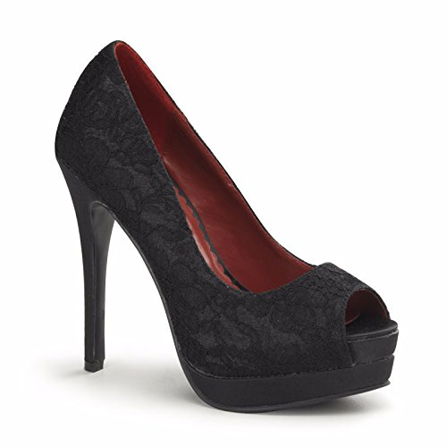 Pin Up Couture - Bella Black Satin Lace Overlay Peep Toe Heels UK 3
