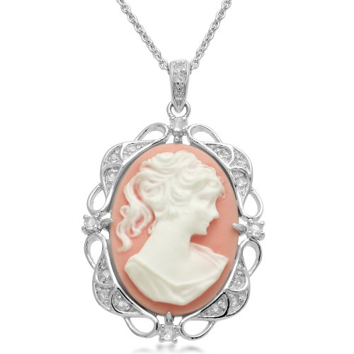 Sterling Silver Pink Cameo with Created White Sapphire Pendant Necklace, 18