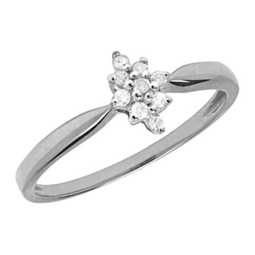 10K White Gold Diamond Starburst Cluster Promise Ring