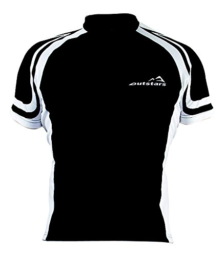 Outstars 71002 Maillot Cycliste/Bike Manches Courtes, Noir/Blanc, S
