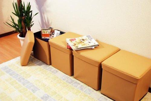 4個で1セット 38cmX38cm ベージュ ボックススツールオットマン 収納椅子 折りたたみ式