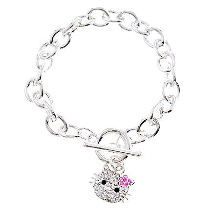Rhodium Plated Pink Crystal Hello Kitty Charm Bracelet