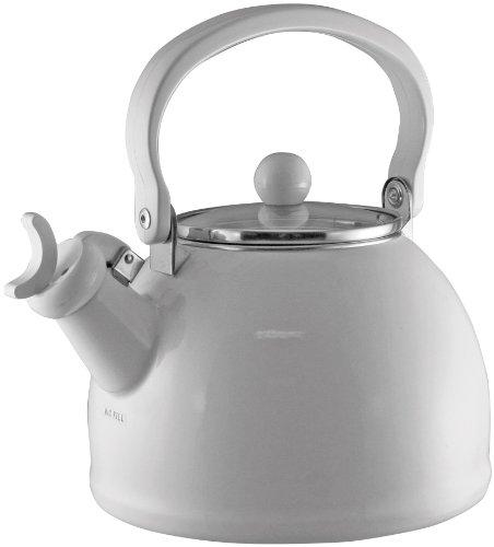 Calypso Basics 2.2-Quart Whistling Teakettle With Glass Lid, White
