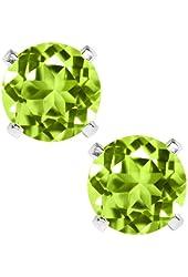 2.00 Ct Green Peridot 925 Sterling Silver Stud Earrings 6mm