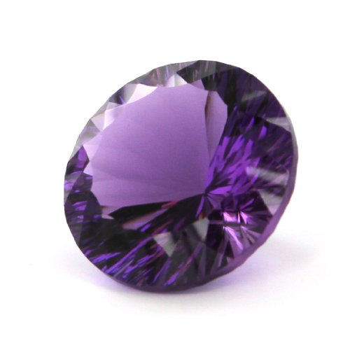 Round Cut Faceted Lab Created Amethyst - Approx.