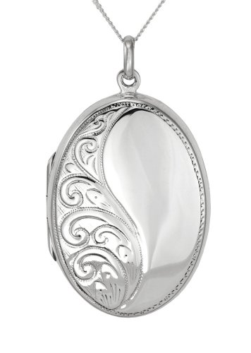 Sterling Silver Large Oval Engraved Locket 46cm Chain