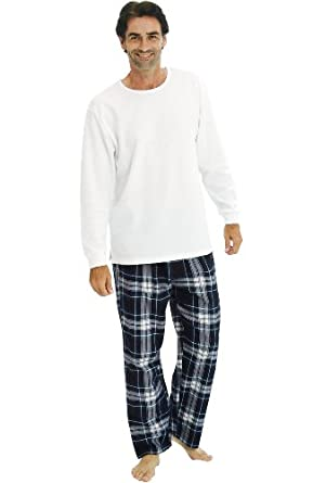 Del Rossa Men's Long Pajama Set - Knit Top with 100% Cotton Flannel Sleep Pants, XL Blue and White Plaid (A0706P27XL)