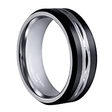 buy King Will Mens Black 8Mm Tungsten Carbide Ring Two Tone Brushed Diamond Engraved Center Wedding Band(8.5)