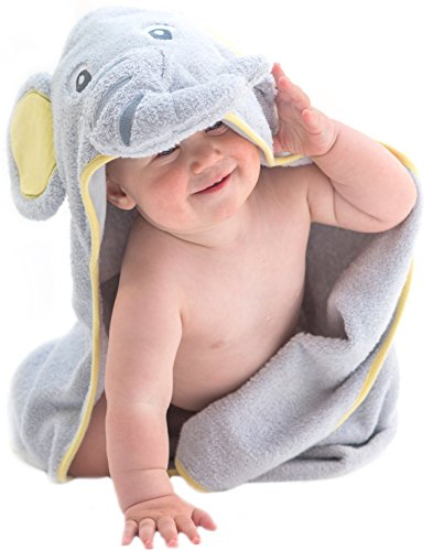 EXTRA SOFT Elephant Baby Hooded Towel - 100% Cotton Baby Bath Towel - Perfect For Baby Shower - Newborn Or Toddler Girls And Boys