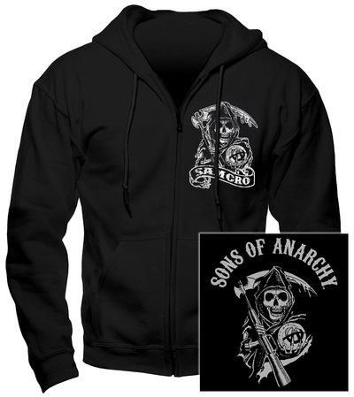 Sons Of Anarchy Samcro Smoke Reaper, Felpa Con Cappuccio E Cerniera, Nero, M