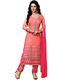 Surat Tex Pink Color Party Wear Embroidered Cotton & Chiffon Un-Stitched Dress Material-H439DL1207AA