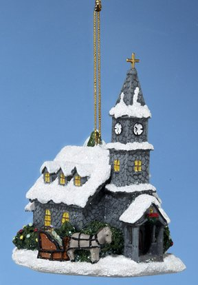 4″ Thomas Kinkade Cobblestone Church Christmas Ornament