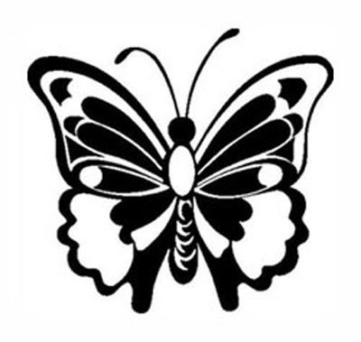BUTTERFLY White Vinyl sticker/decal (Bugs,decorating,glass doors)
