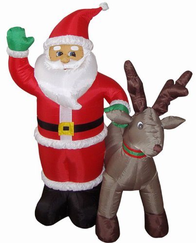4' Airblown Inflatable Santa With Reindeer Lighted Christmas Yard Art Decoration front-567071