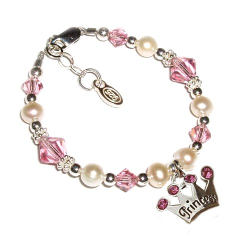 """Sterling Silver Children's Princess Jewelry Bracelet for Girls, Freshwater Pearls & Swarovski Crystals and Tiara Charm in Gift Box, 1-5 years (5 - 5.5"""" adjustable)"""