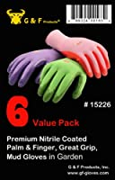 G & F 15226M Women's Garden Gloves, nitrile coated work gloves, 6 Pair Pack