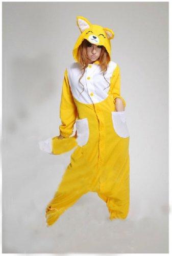 Adult Animal Yellow Fox Pajamas Sleepsuit Cosplay Pyjamas Unisex (Size M) front-932596