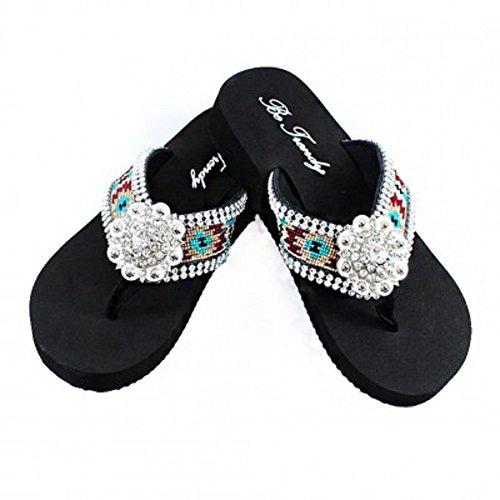 Aztec Concho Sandals Rhinestones Western Sole Sandal Flip Flop-BLACK (M(7-8))