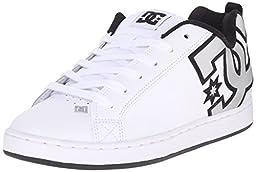 DC Women\'s Court Graffik Skate Shoe, White/M Silver, 8.5 M US