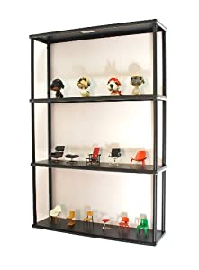"Wall-mounted Steel Shelving Unit - 36"" H X 24"" W X 6"" D - Black - For Kitchen, Storage, or Display Use."