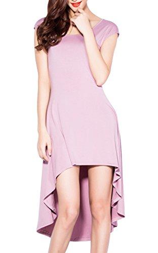 Jiaya Women'S Elegant Back Hollow Out Irregular Formal Long Dress M Taro Color
