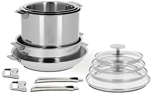 Cristel Casteline 18/10 Stainless Steel 13 Piece Cookware Set with Removable Handles (Cristel Cookware compare prices)