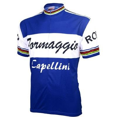 Image of World Jersey's Men's Formaggio Retro 1960 Blue Short Sleeve Cycling Jersey (B000277XDS)