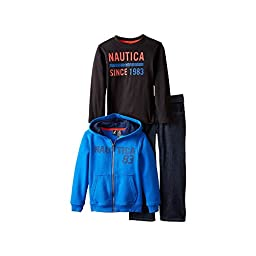 Nautica Baby Boys\' 3 Piece Fleece L Nautica Tee Denim Pant Set, Tabasco, 18 Months