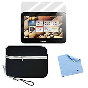 GTMax Neoprene Zipper Storage Carrying Case Cover plus Screen Protector for for Lenovo IdeaTab A2109 9-Inch Tablet with *Microfiber Cleaning Cloth*