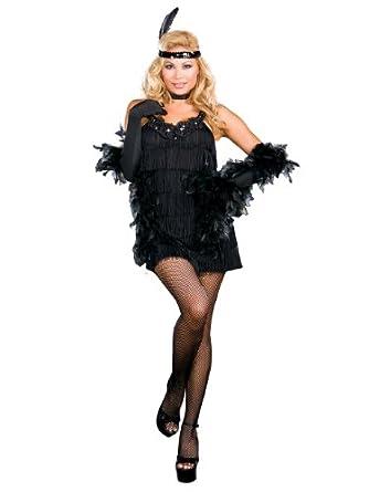 Sexy Black Flapper Costume Fringe Dress Roaring 20s Costume Twenties Plus Size Sizes: 3X-4X