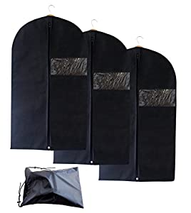 Set of 3 Breathable Garment Bags with Shoe Bag - Garment Bag Covers for Suit Carriers, Dresses, Linens, Storage or Travel - Suit Bag with Clear Window