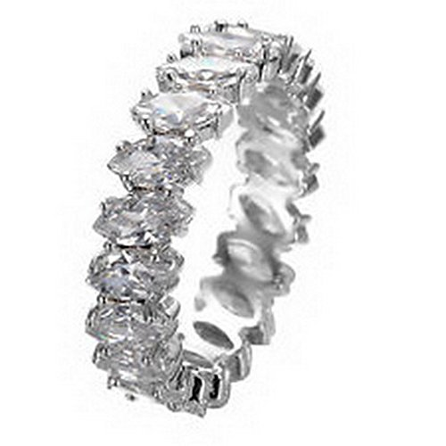 Jacob alex ring Women's Marquise Cut White Sapphire Wedding Band Ring 10KT White Gold Filled Size6