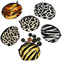 Plush Animal Print Coin Purses (1 dz)
