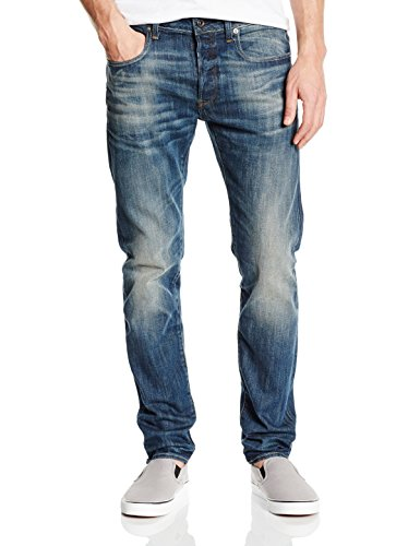 G-Star - 3301 Slim  - delm stretch denim, Jeans da uomo, blu (blau  (dk aged antic 5543)), 46/48 IT (33W/32L)