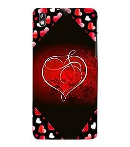 ColourCraft Love Heart Design Back Case Cover for HTC DESIRE 816