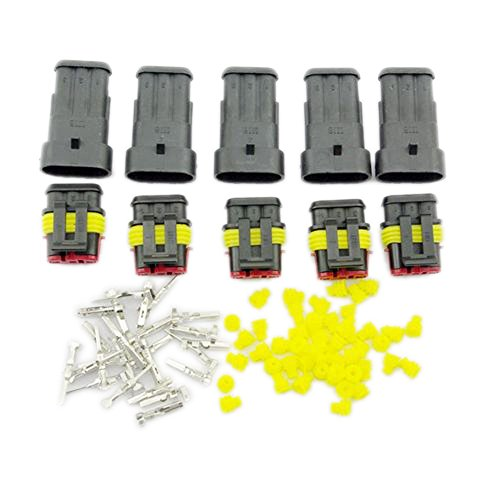 Yiding 5 Kit Set Car Waterproof Electrical Wire Connector Plug 3 Pin Way Terminals Hid