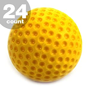 24 Count 2 Dozen Jugs Yellow Dimpled Pitching Machine Baseballs 9 Inch NEW by Commercial Bargains