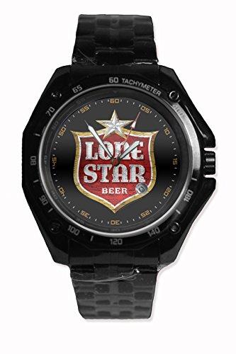 Custom Lone Starc Beer Snap On Black Watch Stainless Steel