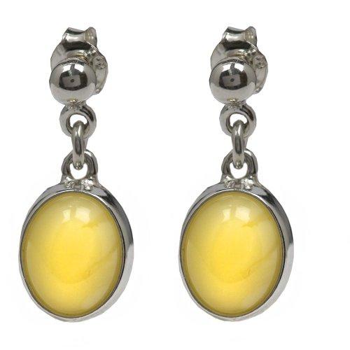 Sterling Silver Butterscotch Amber Oval Earrings