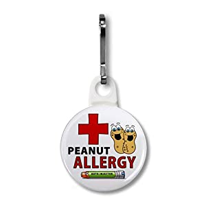 PEANUT ALLERGY Green EpiPen Medical Alert White 1 inch Zipper Pull Charm by Creative Clam
