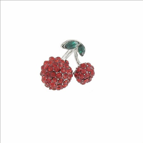 Two Cherries Design with Stone Pin #035224
